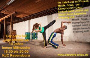 Capoeira für Jugendliche ab 13 Jahre immer Mittwochs 18:30 bis 20:00 KJC Ravensburg